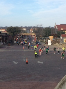 Best part of the race - running through the Stockyards!